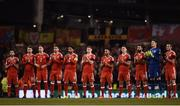 24 March 2017; The Wales team clap during a minute's applause in tribute of the late Ryan McBride of Derry ahead of the FIFA World Cup Qualifier Group D match between Republic of Ireland and Wales at the Aviva Stadium in Dublin. Photo by Seb Daly/Sportsfile