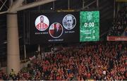 24 March 2017; The big screen during a minute's applause in tribute of the late Ryan McBride of Derry ahead of the FIFA World Cup Qualifier Group D match between Republic of Ireland and Wales at the Aviva Stadium in Dublin. Photo by Stephen McCarthy/Sportsfile