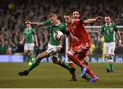 24 March 2017; James McClean of Republic of Ireland in action against Chris Gunter of Wales during the FIFA World Cup Qualifier Group D match between Republic of Ireland and Wales at the Aviva Stadium in Dublin. Photo by David Maher/Sportsfile