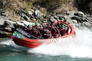 3 September 2011; Members of the Ireland squad, including, Tommy Bowe, Tony Buckley, Sean O'Brien, Mike Ross, Rob Kearney and Stephen Ferris, Shane Jennings, Paddy Wallace, Conor Murray, Rory Best, Tom Court, Isaac Boss, Denis Leamy and Keith Earls, ride in a Shotover Jet boat around the Shotover River, the trip being kindly provided by the Queenstown Lakes District Council, during a squad activity ahead of their Pool C opening game against the USA on the 11th of September. Ireland Rugby Squad Activity - 2011 Rugby World Cup, Queenstown, New Zealand. Picture credit: Brendan Moran / SPORTSFILE
