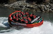 3 September 2011; Members of the Ireland squad, including,Tom Court, Isaac Boss, Denis Leamy and Keith Earls, Paddy Wallace, Shane Jennings, Conor Murray, Rory Best, Sean O'Brien, Mike Ross, Rob Kearney, Stephen Ferris, Tommy Bowe, and Tony Buckley, ride in a Shotover Jet boat around the Shotover River, the trip being kindly provided by the Queenstown Lakes District Council, during a squad activity ahead of their Pool C opening game against the USA on the 11th of September. Ireland Rugby Squad Activity - 2011 Rugby World Cup, Queenstown, New Zealand. Picture credit: Brendan Moran / SPORTSFILE