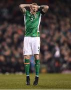 24 March 2017; James McClean of Republic of Ireland reacts after a missed opportunity during the FIFA World Cup Qualifier Group D match between Republic of Ireland and Wales at the Aviva Stadium in Dublin. Photo by Seb Daly/Sportsfile