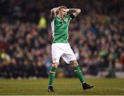 24 March 2017; James McClean of Republic of Ireland reacts to a missed chance during the FIFA World Cup Qualifier Group D match between Republic of Ireland and Wales at the Aviva Stadium in Dublin. Photo by Seb Daly/Sportsfile