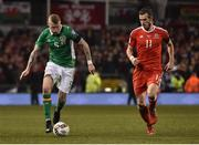 24 March 2017; James McClean of Republic of Ireland in action against Gareth Bale of Wales during the FIFA World Cup Qualifier Group D match between Republic of Ireland and Wales at the Aviva Stadium in Dublin. Photo by David Maher/Sportsfile