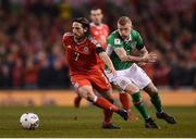 24 March 2017; Joe Allen of Wales in action against James McClean of Republic of Ireland during the FIFA World Cup Qualifier Group D match between Republic of Ireland and Wales at the Aviva Stadium in Dublin. Photo by Seb Daly/Sportsfile