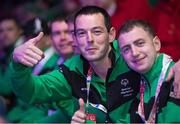 24 March 2017; Team Ireland's John Paul Shaw, left, a member of Shoot'n'Stars Special Olympics Club, from Longford Town, Co. Longford, and Thomas Caulfield, a member of Stewartscare Special Olympics Club, from Ballyfermot, Dublin, at the 2017 Special Olympics World Winter Games Closing Ceremony in Stadium Graz, Graz, Austria. Photo by Ray McManus/Sportsfile