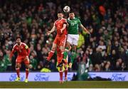 24 March 2017; Jon Walters of Republic of Ireland in action against Ben Davies of Wales during the FIFA World Cup Qualifier Group D match between Republic of Ireland and Wales at the Aviva Stadium in Dublin. Photo by Ramsey Cardy/Sportsfile