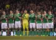 24 March 2017; James McClean, right, with the rest of the Ireland team during a minutes applause ahead of the FIFA World Cup Qualifier Group D match between Republic of Ireland and Wales at the Aviva Stadium in Dublin. Photo by Brendan Moran/Sportsfile