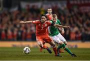 24 March 2017; Joe Allen of Wales in action against James McClean of Ireland during the FIFA World Cup Qualifier Group D match between Republic of Ireland and Wales at the Aviva Stadium in Dublin. Photo by Seb Daly/Sportsfile