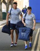 25 March 2017; Luke McGrath, right, and Adam Byrne of Leinster arrive for the Guinness PRO12 Round 18 game between Leinster and Cardiff Blues at RDS Arena in Ballsbridge, Dublin. Photo by Stephen McCarthy/Sportsfile