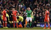 24 March 2017; James McClean of Republic of Ireland  in conversation with Neil Taylor of Wales following his tackle on Seamus Coleman of Republic of Ireland during the FIFA World Cup Qualifier Group D match between Republic of Ireland and Wales at the Aviva Stadium in Dublin. Photo by Ramsey Cardy/Sportsfile