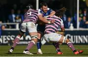 25 March 2017; Cian Healy of Leinster is tackled by George Earle, left, and Josh Navidi of Cardiff Blues during the Guinness PRO12 Round 18 game between Leinster and Cardiff Blues at the RDS Arena in Ballsbridge, Dublin. Photo by Ramsey Cardy/Sportsfile