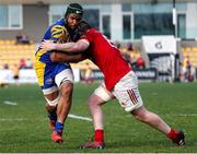 25 March 2017; Maxime Mbandà of Zebre is tackled by Peter O'Mahony of Munster during the Guinness PRO12 Round 18 match between Zebre Rugby and Munster Rugby at the Stadio Sergio Lanfranchi in Parma, Italy. Photo by Roberto Bregani/Sportsfile