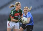 25 March 2017; Cora Staunton of Mayo in action against Fiona Hudson of Dublin  during the Lidl Ladies Football National League Round 6 match between Dublin and Mayo at Croke Park, in Dublin. Photo by Brendan Moran/Sportsfile
