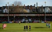 25 March 2017; Players from both sides observe a minutes applause in memory to the late Ryan McBride of Derry City prior to the SSE Airtricity League Premier Division game between St Patrick's Athletic and Shamrock Rovers at Richmond Park in Dublin. Photo by Seb Daly/Sportsfile