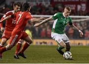 24 March 2017; James McClean of Republic of Ireland in action against Joe Allen of Wales during the FIFA World Cup Qualifier Group D match between Republic of Ireland and Wales at the Aviva Stadium in Dublin. Photo by David Maher/Sportsfile Photo by David Maher/Sportsfile