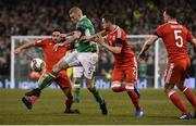 24 March 2017; James McClean of Republic of Ireland in action against Joe Allen, left, and Chris Gunter of Wales during the FIFA World Cup Qualifier Group D match between Republic of Ireland and Wales at the Aviva Stadium in Dublin. Photo by David Maher/Sportsfile Photo by David Maher/Sportsfile