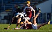 25 March 2017; Jerry Kelly of Our Lady's Secondary School Templemore, supported by team-mate Andrew Ormond, behind, in action against Killian Egan of St Kieran's College during the Masita GAA All Ireland Post Primary Schools Croke Cup Final game between St. Kieran's College and Our Ladys Secondary School Templemore at Semple Stadium in Thurles, Co. Tipperary. Photo by Piaras Ó Mídheach/Sportsfile