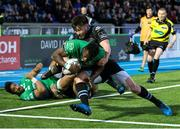 25 March 2017; Niyi Adeolokun of Connacht goes in for a try which was subsequently disallowed during the Guinness PRO12 Round 18 match between Glasgow Warriors and Connacht at Scotstoun Stadium in Glasgow, Scotland. Photo by Kenny Smith/Sportsfile