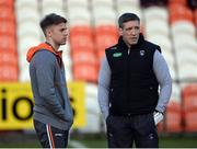 25 March 2017; Armagh manager Kieran McGeeney, right, and Kevin Dyas before the Allianz Football League Division 3 Round 6 game between Armagh and Antrim at Athletic Grounds in Armagh. Photo by Oliver McVeigh/Sportsfile