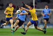 25 March 2017; Tadgh O'Rourke of Roscommon blocks a kick pass by Kevin McManamon of Dublin during the Allianz Football League Division 1 Round 6 game between Dublin and Roscommon at Croke Park in Dublin. Photo by Brendan Moran/Sportsfile
