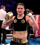 25 March 2017; Katie Taylor after victory over Milena Koleva during their Manchester Fight Night super featherweight bout at Manchester Arena in Manchester, England. Photo by Lawrence Lustig/Sportsfile
