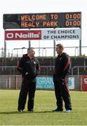 26 March 2017; Mayo manager Stephen Rochford, left, with Mayo Selector Peter Burke before the Allianz Football League Division 1 Round 6 match between Tyrone and Mayo at Healy Park in Omagh. Photo by Oliver McVeigh/Sportsfile