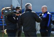 26 March 2017; Waterford manager Derek McGrath is interviewed for TG4 ahead of the Allianz Hurling League Division 1A Round 5 match between Clare and Waterford at Cusack Park in Ennis. Photo by Diarmuid Greene/Sportsfile
