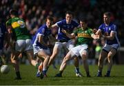 26 March 2017; Stephen O'Brien of Kerry in action against Cavan players, from left, Jason McLoughlin, Gearoid McKiernan and Rory Dunne during the Allianz Football League Division 1 Round 6 match between Cavan and Kerry at Kingspan Breffni Park in Cavan. Photo by Stephen McCarthy/Sportsfile