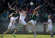 26 March 2017; Lee Keegan and Paddy Durcan of Mayo   in action against Ronan McNamee of Tyrone during the Allianz Football League Division 1 Round 6 match between Tyrone and Mayo at Healy Park in Omagh. Photo by Oliver McVeigh/Sportsfile
