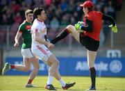 26 March 2017; David Clarke of Mayo in action against Sean Cavanagh of Tyrone during the Allianz Football League Division 1 Round 6 match between Tyrone and Mayo at Healy Park in Omagh. Photo by Oliver McVeigh/Sportsfile
