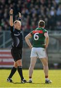 26 March 2017; Referee Conor Lane issues a black card to Lee Keegan of Mayo  during the Allianz Football League Division 1 Round 6 match between Tyrone and Mayo at Healy Park in Omagh. Photo by Oliver McVeigh/Sportsfile