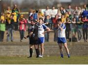26 March 2017; Referee David Gough shows a black card to Dessie Ward of Monaghan during the Allianz Football League Division 1 Round 6 match between Donegal and Monaghan at Fr. Tierney Park in Ballyshannon, Co. Donegal. Photo by Philip Fitzpatrick/Sportsfile