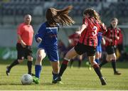 26 March 2017; Carla McManus of Peamount United FC in action against Caitlin Quinn of Cregmore Claregalway FC during the FAI Women's U18 Cup Final match between Cregmore Claregalway and Peamount United FC at Eamon Deacy Park in Galway. Photo by David Maher/Sportsfile