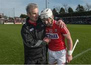 26 March 2017; Patrick Horgan of Cork is congratulated by manager Kieran Kingston after scoring the winning point during the Allianz Hurling League Division 1A Round 5 match between Cork and Tipperary at Páirc Uí Rinn in Cork. Photo by Eóin Noonan/Sportsfile