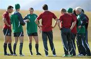 6 September 2011; Ireland full-back Geordan Murphy discusses tactics with fellow backs, from left, Tommy Bowe, Jonathan Sexton, Conor Murray, Keith Earls, Fergus McFadden and backs coach Alan Gaffney during squad training ahead of their Pool C opening game against the USA on the 11th of September. Ireland Rugby Squad Training - 2011 Rugby World Cup, Queenstown Event Centre, Queenstown, New Zealand. Picture credit: Brendan Moran / SPORTSFILE