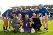 6 September 2011; Former Dublin footballers Johnny Magee, left, and Jim Gavin, right, with Michael Sheridan, Chief Executive Officer of the Mercy University Hospital Foundation, and Kilmacud Crokes players, from left, Craig Dias, Eoin Culligan, Brian Hanamy, Cian O'Sullivan, Carl Dias, Rory O'Carroll and David Nestor in Croke Park today to announce details of this years Blue September Legends game which will take place at the Kilmacud Crokes All Ireland Football 7s competition on Saturday, 17th September. This is the 39th year of the competition and Kilmacud Crokes have announced a charity partnership with Blue September for the competition. A game of 7s will be played between Dublin Legends and a Rest of Ireland Legends selection during which a raffle will take place for a pair of elusive All-Ireland Final tickets. All proceeds will go towards Blue September. The Dublin Legends team will be captained by Ciaran Whelan, while the Rest of Ireland Legends selection will be captained by Darragh Ó Sé. Other legends taking part include Paul Curran, Kieran McGeeney, Stephen McDonnell, Dick Clerkin, Johnny Magee, Padraig Joyce and Conor Mortimer. Croke Park, Dublin. Picture credit: Paul Mohan / SPORTSFILE