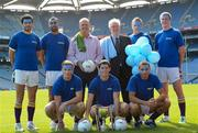 6 September 2011; Kerry legend Jack O'Shea and Dublin legend Robbie Kelleher, with Kilmacd Crokes players, back row from left, Cian O'Sullivan, Carl Dias, David Nestor, Brian Hanamy, and front row from left, Eoin Culligan, Rory O'Carroll and Craig Dias, in Croke Park today to announce details of this years Kilmacud Crokes All Ireland Football 7s competition which will take place on Saturday, 17th September. This is the 39th year of the competition and Kilmacud Crokes have announced a charity partnership with Blue September for the competition. A game of 7s will be played between Dublin Legends and a Rest of Ireland Legends selection during which a raffle will take place for a pair of elusive All-Ireland Final tickets. All proceeds will go towards Blue September. The Dublin Legends team will be captained by Ciaran Whelan, while the Rest of Ireland Legends selection will be captained by Darragh Ó Sé. Other legends taking part include Paul Curran, Kieran McGeeney, Stephen McDonnell, Dick Clerkin, Johnny Magee, Padraig Joyce and Conor Mortimer. Croke Park, Dublin. Picture credit: Paul Mohan / SPORTSFILE