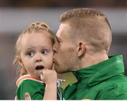 24 March 2017; James McClean of Republic of Ireland with his daughter Allie-Mae ahead of the FIFA World Cup Qualifier Group D match between Republic of Ireland and Wales at the Aviva Stadium in Dublin. Photo by Brendan Moran/Sportsfile