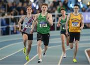 26 March 2017; Luke Morris of Newbridge AC, Co. Kildare, left, on his way to winning the U19 Men's 400m event during the Irish Life Health Juvenile Indoor Championships 2017 day 2 at the AIT International Arena in Athlone, Co. Westmeath. Photo by Sam Barnes/Sportsfile