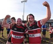 26 March 2017; Timmy Donavan and Eoin O'Sullivan of Wicklow celebrate after the Leinster Provincial Towns Cup Quarter-Final match between Enniscorthy and Wicklow at Enniscorthy RFC in Co. Wexford. Photo by Matt Browne/Sportsfile