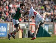 26 March 2017; Kevin McLoughlin of Mayo tackles Conor Meyler of Tyrone during the Allianz Football League Division 1 Round 6 match between Tyrone and Mayo at Healy Park in Omagh. Photo by Oliver McVeigh/Sportsfile