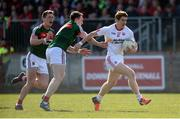 26 March 2017; Peter Harte of Tyrone in action against Paddy Durcan of Mayo  during the Allianz Football League Division 1 Round 6 match between Tyrone and Mayo at Healy Park in Omagh. Photo by Oliver McVeigh/Sportsfile