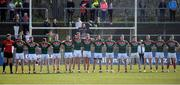 26 March 2017; The Mayo team stand for the National Anthem before the Allianz Football League Division 1 Round 6 match between Tyrone and Mayo at Healy Park in Omagh. Photo by Oliver McVeigh/Sportsfile