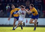 26 March 2017; Daniel Flynn of Kildare in action against Dean Ryan, left, and Gary Brennan of Clare during the Allianz Football League Division 2 Round 6 match between Kildare and Clare at St Conleth's Park in Newbridge. Photo by Daire Brennan/Sportsfile