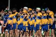 26 March 2017; The Clare team stand together during the playing of the national anthem before the Allianz Hurling League Division 1A Round 5 match between Clare and Waterford at Cusack Park in Ennis. Photo by Diarmuid Greene/Sportsfile