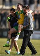 26 March 2017; Ryan McHugh is carried off during the Allianz Football League Division 1 Round 6 match between Donegal and Monaghan at Fr. Tierney Park in Ballyshannon, Co. Donegal. Photo by Philip Fitzpatrick/Sportsfile