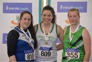 26 March 2017; U16 Women's Shot Put medallists, from left, Ciara McHugh Murphy of Claremorris AC, Co Mayo, bronze, Chloe Casey of Craughwell AC, Co Galway, gold, and Ciara Sheehy of Liscarroll AC, Co Cork, during the Irish Life Health Juvenile Indoor Championships 2017 day 2 at the AIT International Arena in Athlone, Co. Westmeath. Photo by Sam Barnes/Sportsfile