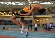 26 March 2017; Reece Ademola of Leevale AC, Co Cork, on his way to winning the U15 Men's High Jump event during the Irish Life Health Juvenile Indoor Championships 2017 day 2 at the AIT International Arena in Athlone, Co. Westmeath. Photo by Sam Barnes/Sportsfile