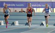 26 March 2017; Athletes, from left, Tia Cashman-Hooke of Lagan Valley AC, Co Antrim, Niamh Moriarty of Dooneen AC, Co Galway and Chloe Hayden of St Laurence O'Toole's AC, Co Carlow, competing in their U17 Women's 60m Heat during the Irish Life Health Juvenile Indoor Championships 2017 day 2 at the AIT International Arena in Athlone, Co. Westmeath. Photo by Sam Barnes/Sportsfile